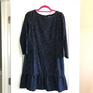 Loft, black and navy jacquard dress, 8